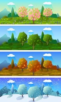 Conjunto de quatro bandeiras de paisagem de temporadas