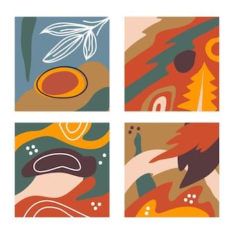 Conjunto de quatro banner vintage abstrato contemporâneo perfeito para estampas têxteis e fundos