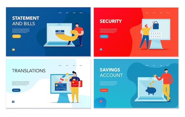 Conjunto de quatro banners horizontais com várias operações bancárias on-line sobre fundo colorido isolado