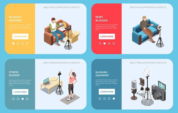 Conjunto de quatro banners isométricos com blogueiros revisores de fitness de notícias e equipamentos para streaming 3d isolado