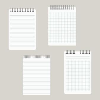 Conjunto de quatro blocos de notas com encadernação de cima. ilustração vetorial
