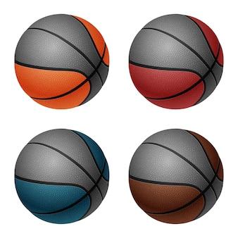 Conjunto de quatro bolas de basquete brancas isoladas