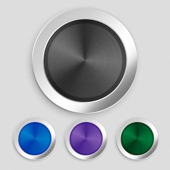 Conjunto de quatro botões metálicos escovados realistas