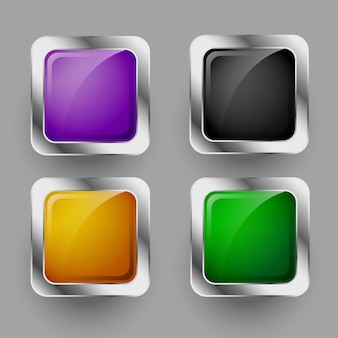 Conjunto de quatro botões quadrados arredondados brilhantes