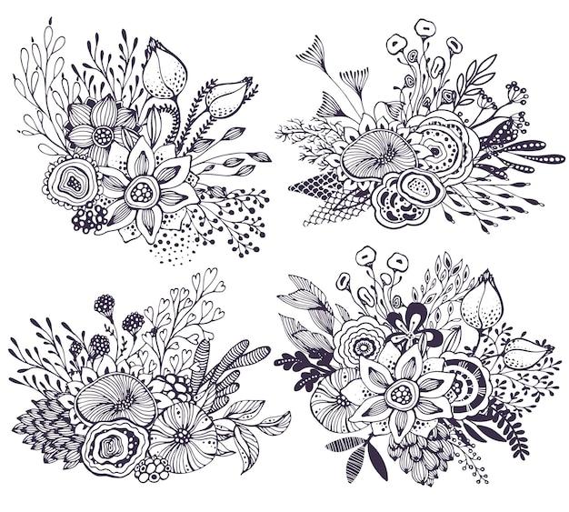 Conjunto de quatro buquês de linda fantasia com flores desenhadas à mão, plantas, ramos. ilustração em vetor preto e branco.