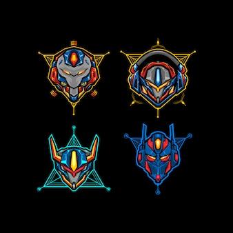 Conjunto de quatro cabeças de robô com ilustração vetorial de geometria sagrada