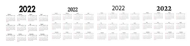 Conjunto de quatro calendários para 2022 isolado em um fundo branco