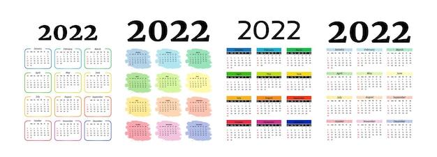 Conjunto de quatro calendários verticais para 2022, isolado em um fundo branco. domingo a segunda-feira, modelo de negócios. ilustração vetorial
