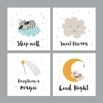 Conjunto de quatro cartas noturnas com personagens e frases fofinhos.