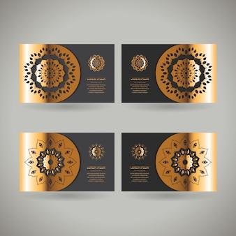 Conjunto de quatro cartas ornamentais de ouro com mandala oriental de flor
