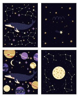 Conjunto de quatro cartas pré-fabricadas diferentes com planetas e constelações de baleias cósmicas