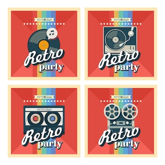 Conjunto de quatro cartazes. ilustração vetorial. festa retrô.