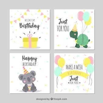 Conjunto de quatro cartões de aniversário desenhados a mão