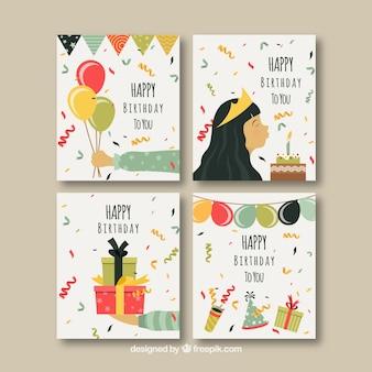 Conjunto de quatro cartões de aniversário planos