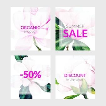 Conjunto de quatro cartões de banner com flores de magnólia