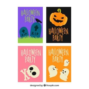 Conjunto de quatro cartões de halloween