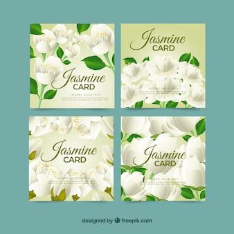 Conjunto de quatro cartões de jasmim