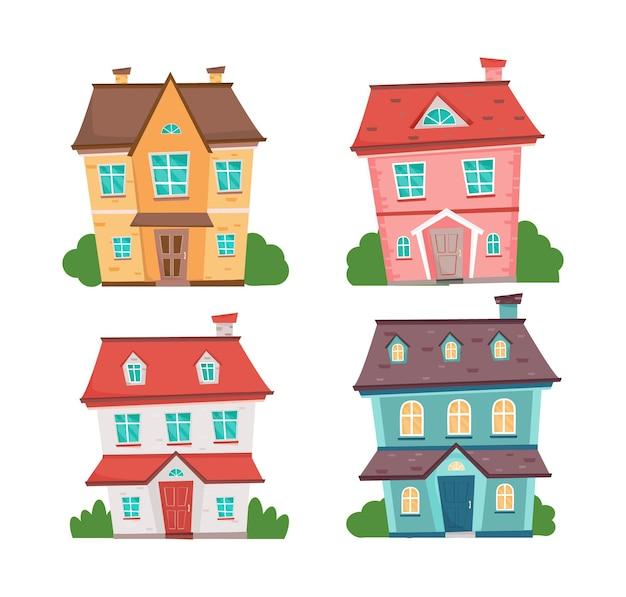 Conjunto de quatro casas coloridas cute cottasges moradias em banda de desenhos animados com árvores conjunto de casas de vetor