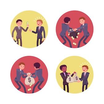 Conjunto de quatro cenas de negócios