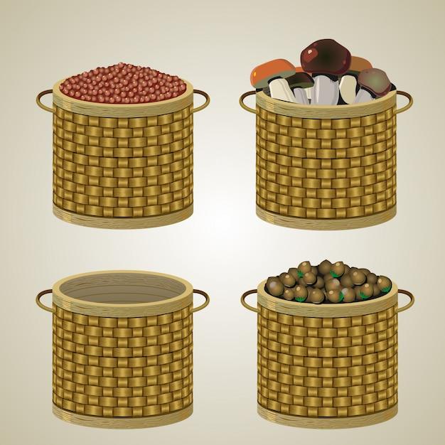 Conjunto de quatro cestas.