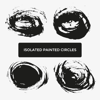 Conjunto de quatro círculos pintados criativos de grunge para logotipo, etiqueta, branding. texturas de mancha de pincel preto. ilustração vetorial.
