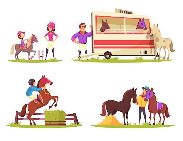 Conjunto de quatro composições ao ar livre com cavalos e jóqueis