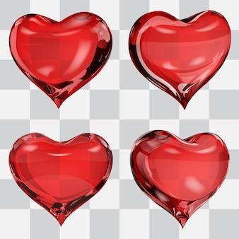 Conjunto de quatro corações transparentes em cores vermelhas