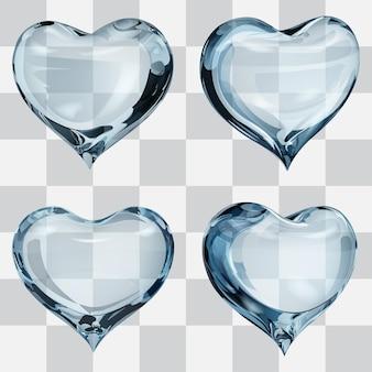 Conjunto de quatro corações transparentes em tons de azul claro