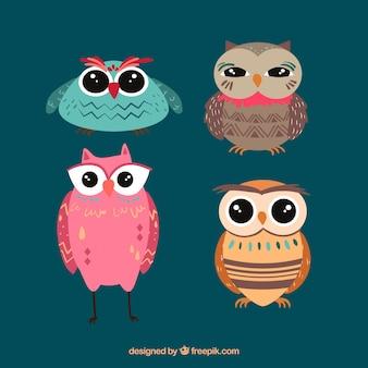 Conjunto de quatro corujas criativas