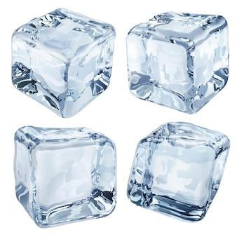 Conjunto de quatro cubos de gelo opacos em tons de azul claro