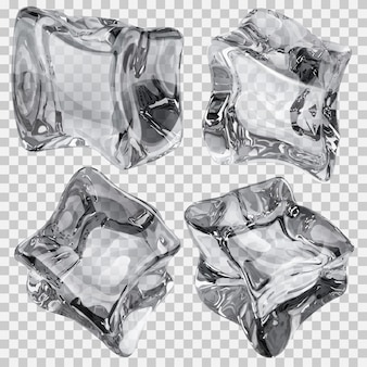 Conjunto de quatro cubos de gelo transparentes em cores cinza. transparência apenas em arquivo vetorial
