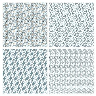 Conjunto de quatro delicados padrões elegantes sem costura com redemoinhos
