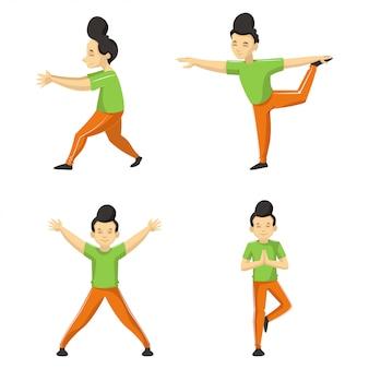 Conjunto de quatro diferentes poses de ioga