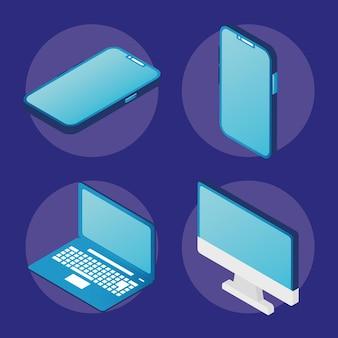 Conjunto de quatro dispositivos eletrônicos