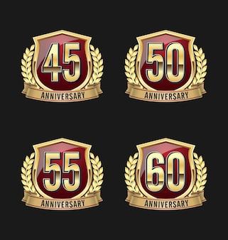 Conjunto de quatro emblemas de aniversário de luxo