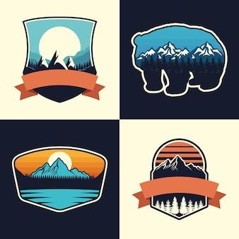 Conjunto de quatro emblemas de aventura