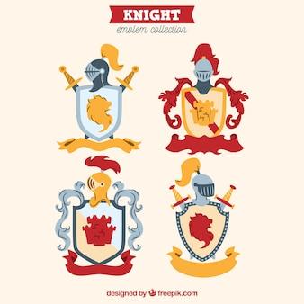 Conjunto de quatro emblemas de cavaleiros