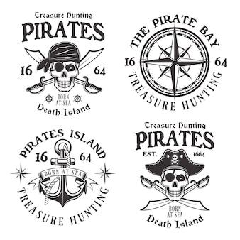 Conjunto de quatro emblemas vintage de piratas