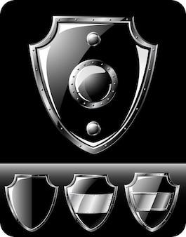Conjunto de quatro escudos de aço preto