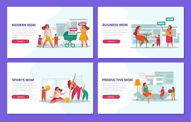 Conjunto de quatro estandartes de maternidade
