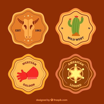 Conjunto de quatro estilos de cowboy