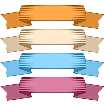 Conjunto de quatro fitas multicoloridas e banners para web design. grande elemento de design isolado no fundo branco. ilustração vetorial.