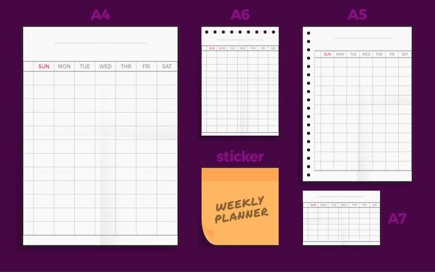 Conjunto de quatro folhas de papel em formato planejado semanal em branco da série a do planejador