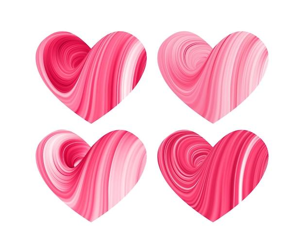 Conjunto de quatro formas abstratas de fluído torcido 3d vermelho de corações