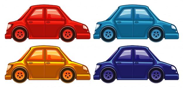 Conjunto de quatro fotos de carros em cores diferentes