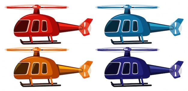 Conjunto de quatro fotos de helicópteros em cores diferentes