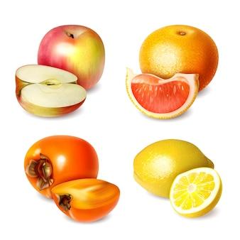 Conjunto de quatro frutas em estilo realista