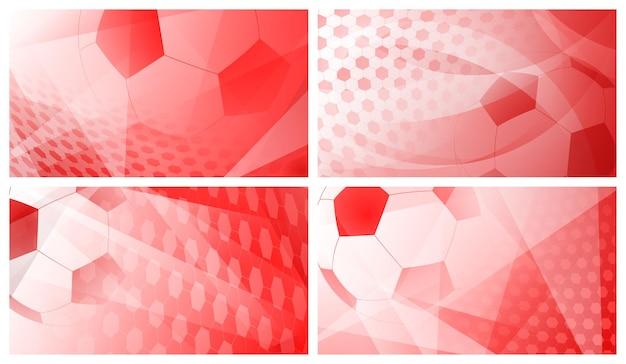 Conjunto de quatro fundos abstratos de futebol ou futebol com uma bola grande em cores vermelhas