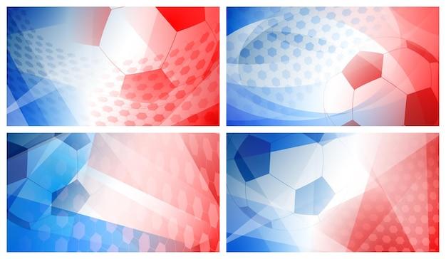 Conjunto de quatro fundos abstratos de futebol ou futebol com uma bola grande nas cores nacionais da frança