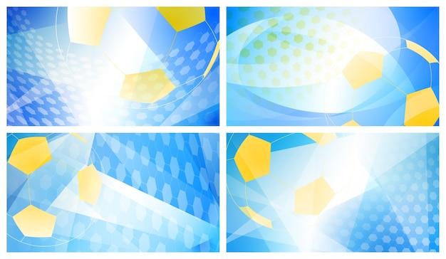 Conjunto de quatro fundos abstratos de futebol ou futebol com uma bola grande nas cores nacionais da suécia